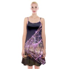 Helixbridge Bridge Lights Night Spaghetti Strap Velvet Dress