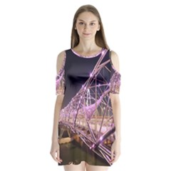 Helixbridge Bridge Lights Night Shoulder Cutout Velvet  One Piece