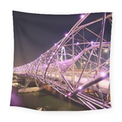Helixbridge Bridge Lights Night Square Tapestry (large)