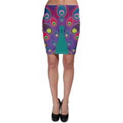 Peacock Bird Animal Feathers Bodycon Skirt