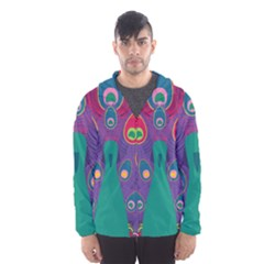 Peacock Bird Animal Feathers Hooded Wind Breaker (men)