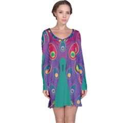 Peacock Bird Animal Feathers Long Sleeve Nightdress