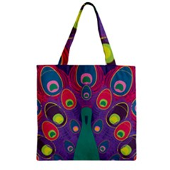 Peacock Bird Animal Feathers Zipper Grocery Tote Bag