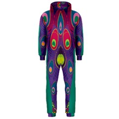 Peacock Bird Animal Feathers Hooded Jumpsuit (men)