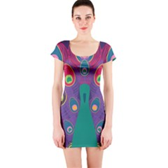 Peacock Bird Animal Feathers Short Sleeve Bodycon Dress