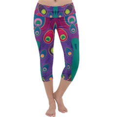 Peacock Bird Animal Feathers Capri Yoga Leggings