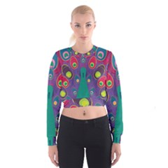 Peacock Bird Animal Feathers Women s Cropped Sweatshirt