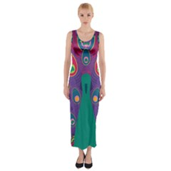 Peacock Bird Animal Feathers Fitted Maxi Dress