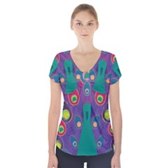 Peacock Bird Animal Feathers Short Sleeve Front Detail Top