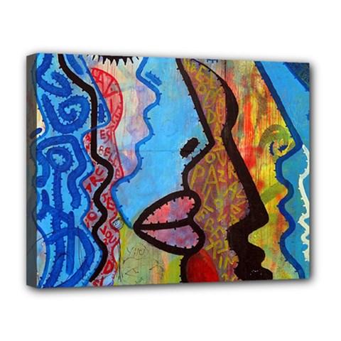 Graffiti Wall Color Artistic Canvas 14  X 11