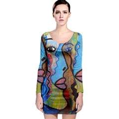 Graffiti Wall Color Artistic Long Sleeve Bodycon Dress