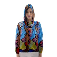 Graffiti Wall Color Artistic Hooded Wind Breaker (women)