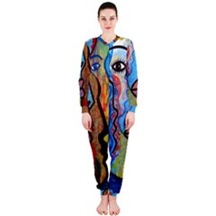 Graffiti Wall Color Artistic Onepiece Jumpsuit (ladies)