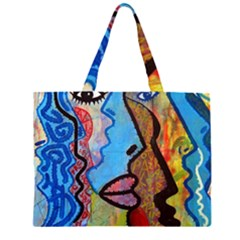 Graffiti Wall Color Artistic Zipper Large Tote Bag