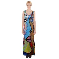 Graffiti Wall Color Artistic Maxi Thigh Split Dress