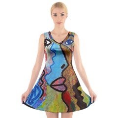 Graffiti Wall Color Artistic V Neck Sleeveless Skater Dress