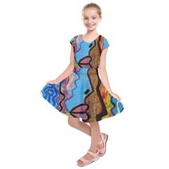Graffiti Wall Color Artistic Kids  Short Sleeve Dress