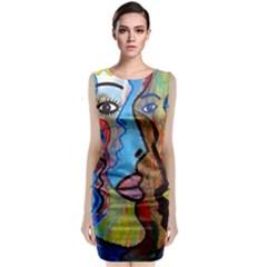 Graffiti Wall Color Artistic Sleeveless Velvet Midi Dress