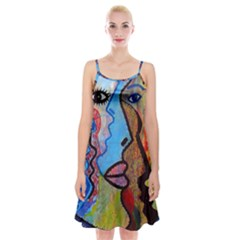 Graffiti Wall Color Artistic Spaghetti Strap Velvet Dress
