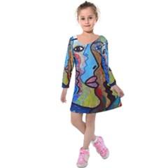 Graffiti Wall Color Artistic Kids  Long Sleeve Velvet Dress