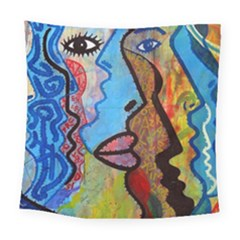 Graffiti Wall Color Artistic Square Tapestry (large)