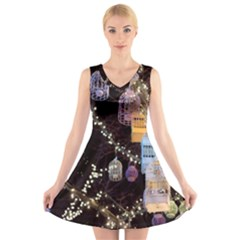 Qingdao Provence Lights Outdoors V Neck Sleeveless Skater Dress