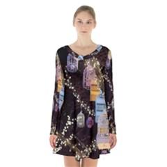 Qingdao Provence Lights Outdoors Long Sleeve Velvet V Neck Dress