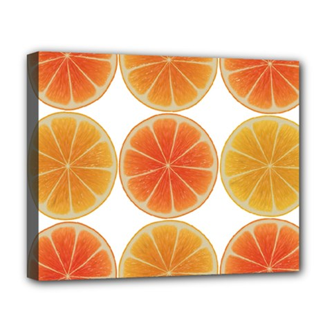 Orange Discs Orange Slices Fruit Deluxe Canvas 20  X 16