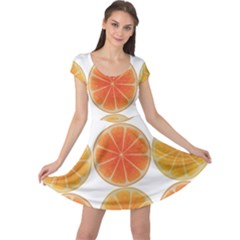 Orange Discs Orange Slices Fruit Cap Sleeve Dresses