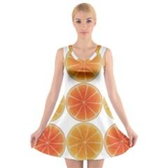 Orange Discs Orange Slices Fruit V Neck Sleeveless Skater Dress