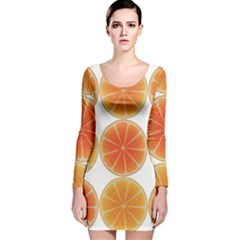 Orange Discs Orange Slices Fruit Long Sleeve Velvet Bodycon Dress
