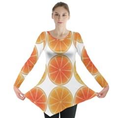 Orange Discs Orange Slices Fruit Long Sleeve Tunic
