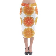 Orange Discs Orange Slices Fruit Midi Pencil Skirt