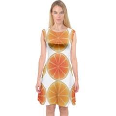 Orange Discs Orange Slices Fruit Capsleeve Midi Dress