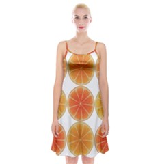 Orange Discs Orange Slices Fruit Spaghetti Strap Velvet Dress