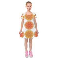 Orange Discs Orange Slices Fruit Kids  Short Sleeve Velvet Dress
