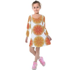 Orange Discs Orange Slices Fruit Kids  Long Sleeve Velvet Dress