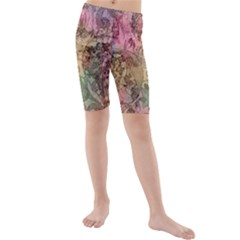 Texture Background Spring Colorful Kids  Mid Length Swim Shorts