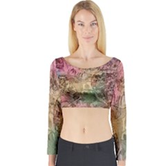 Texture Background Spring Colorful Long Sleeve Crop Top