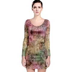 Texture Background Spring Colorful Long Sleeve Bodycon Dress