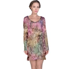 Texture Background Spring Colorful Long Sleeve Nightdress