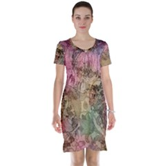 Texture Background Spring Colorful Short Sleeve Nightdress