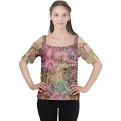Texture Background Spring Colorful Women s Cutout Shoulder Tee