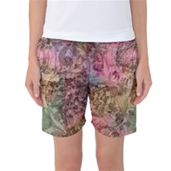 Texture Background Spring Colorful Women s Basketball Shorts