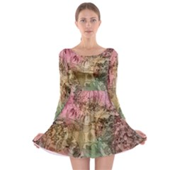 Texture Background Spring Colorful Long Sleeve Skater Dress