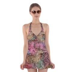 Texture Background Spring Colorful Halter Swimsuit Dress