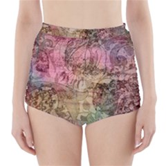 Texture Background Spring Colorful High Waisted Bikini Bottoms