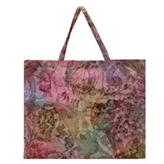 Texture Background Spring Colorful Zipper Large Tote Bag
