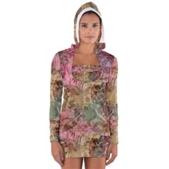 Texture Background Spring Colorful Women s Long Sleeve Hooded T Shirt