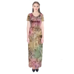 Texture Background Spring Colorful Short Sleeve Maxi Dress